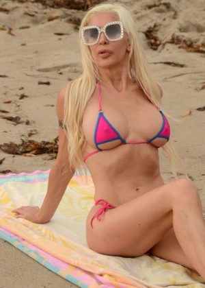 Angelique Frenchy Morgan in Pink Bikini on Malibu Beach