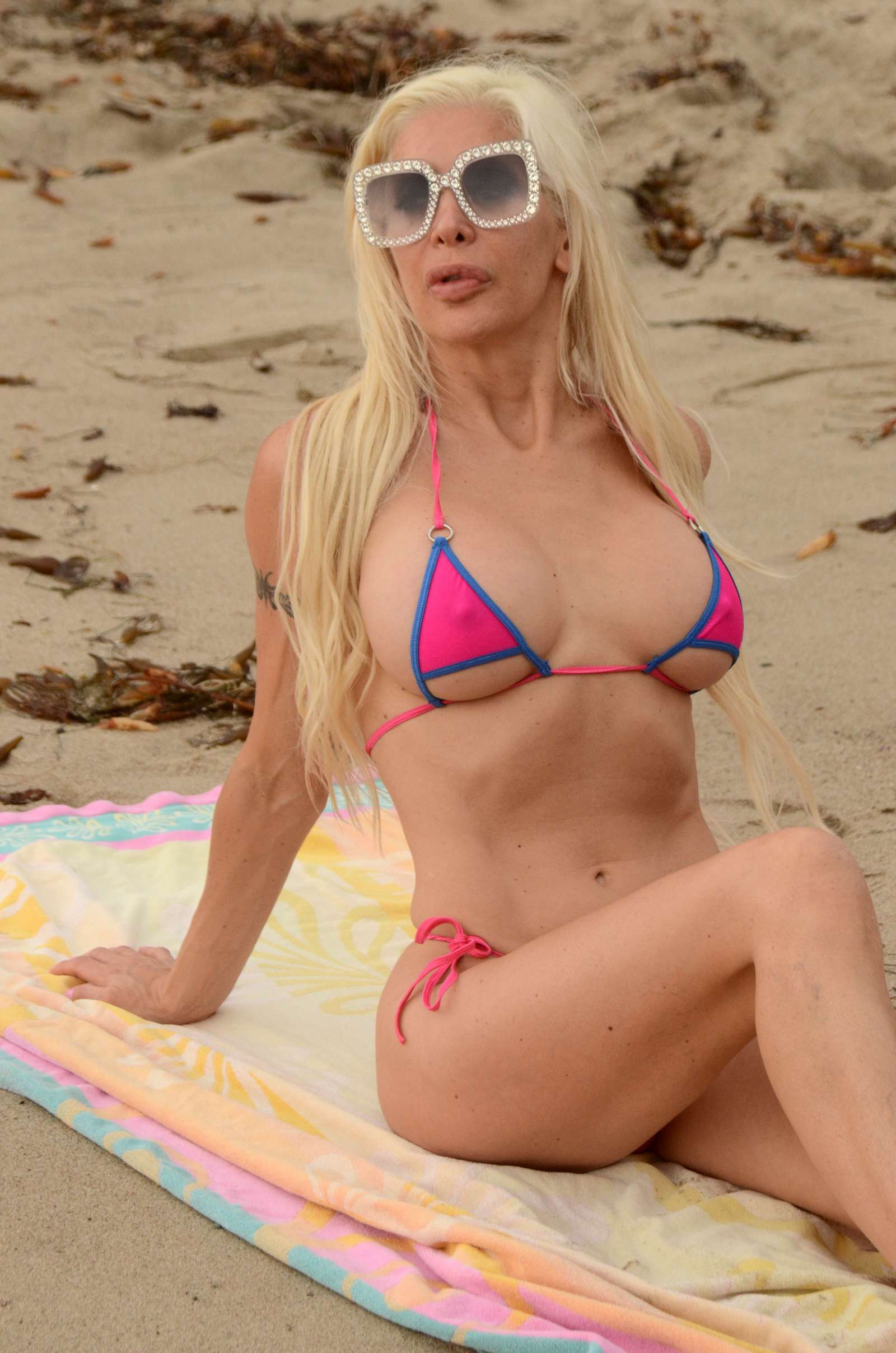 2a2d768349 Angelique Frenchy Morgan in Pink Bikini on Malibu Beach