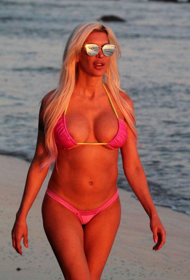 Angelique Frenchy Morgan in Pink Bikini on the beach in Malibu