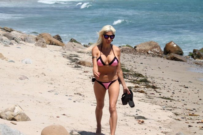 Angelique Frenchy Morgan in Tiny Bikini on the beach in Malibu