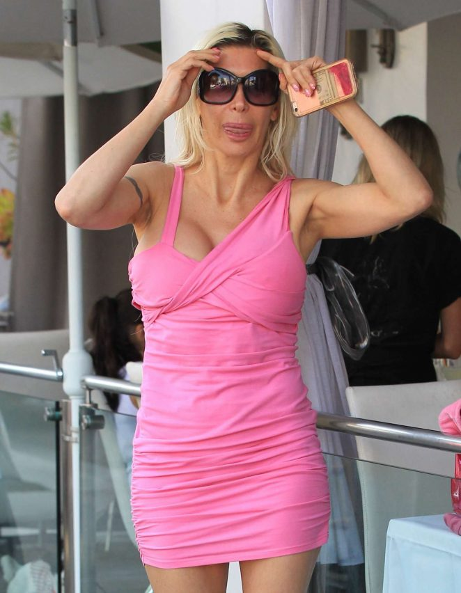 Angelique Morgan in Pink Mini Dress out in Beverly Hills