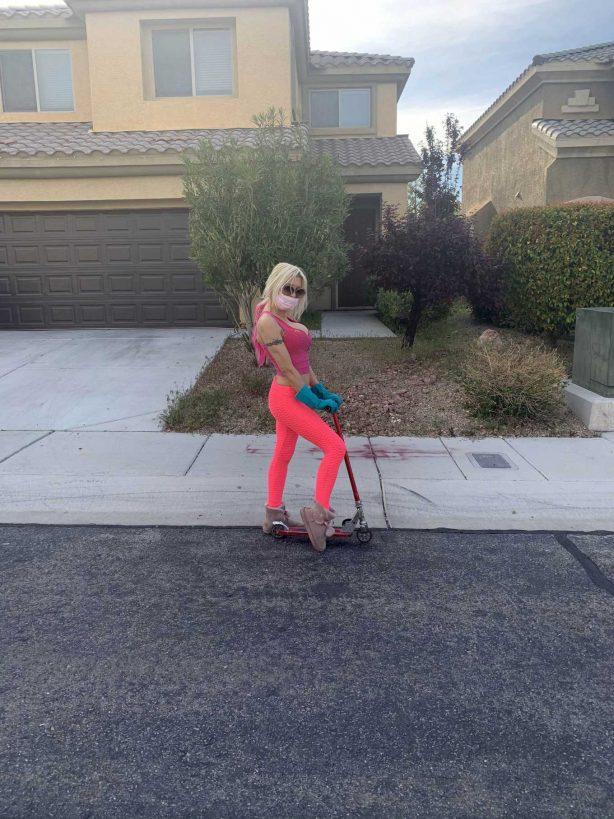 Angelique Morgan - Rides her scooter in Las Vegas