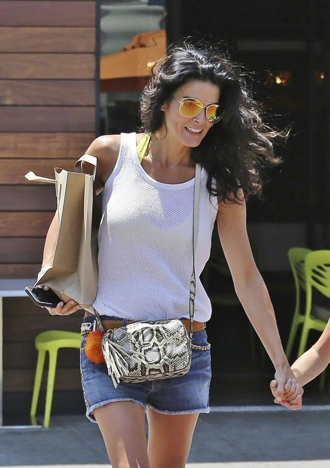Angie Harmon in Jeans Mini Skirt out in Los Angeles