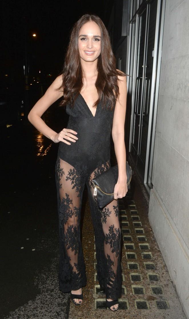 Anita Kaushik in Black Jumpsuit Night out in London