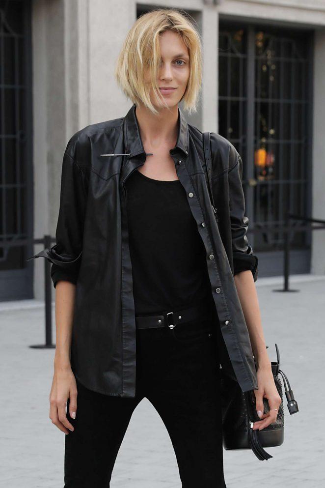 Anja Rubik - Arriving at the Versace Fashion Show in Milan