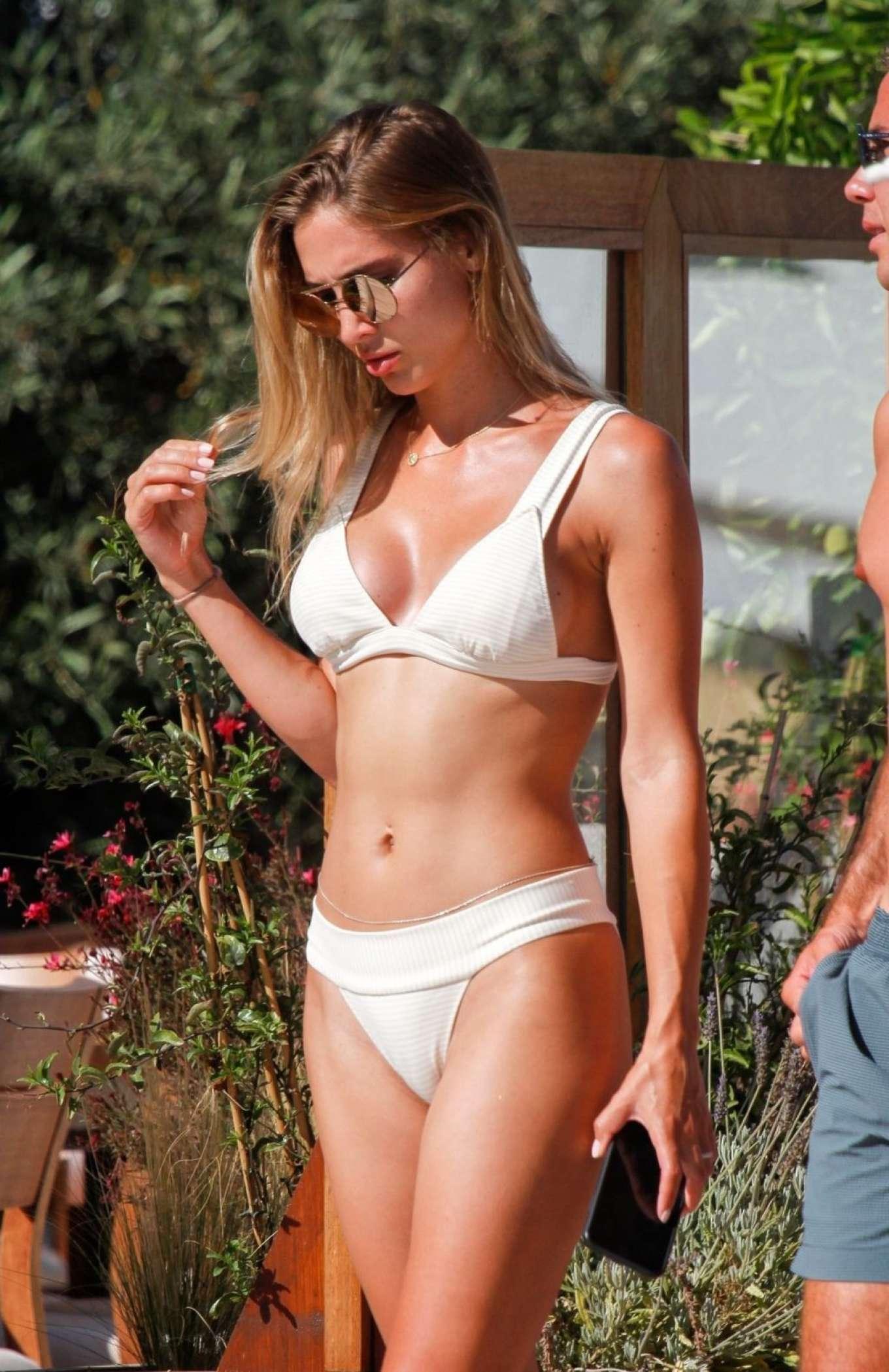 Ann-Kathrin Brommel in White Bikini on the pool in Ibiza