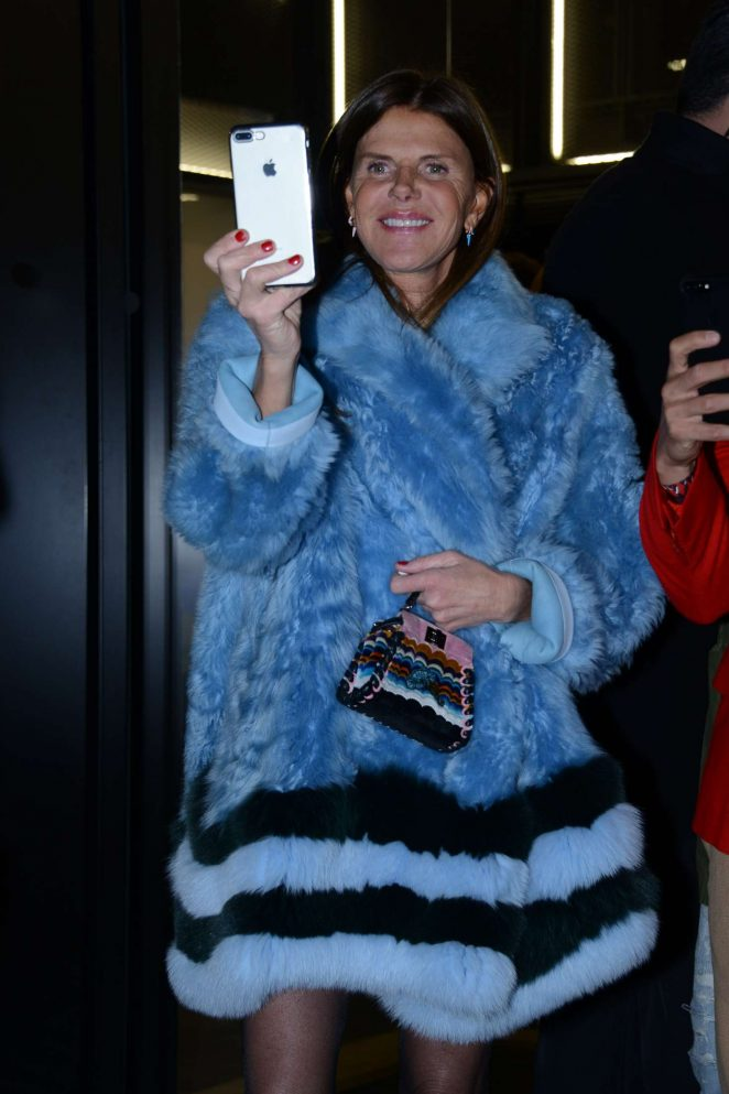 Anna Dello Russo at the Fendi arrivals at the Milan Mens Fashion Week