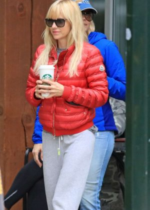 Anna Faris in Red Jacket Out in Vancouver