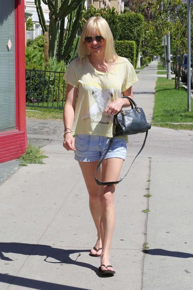 Anna Faris in Denim Shorts Out in LA
