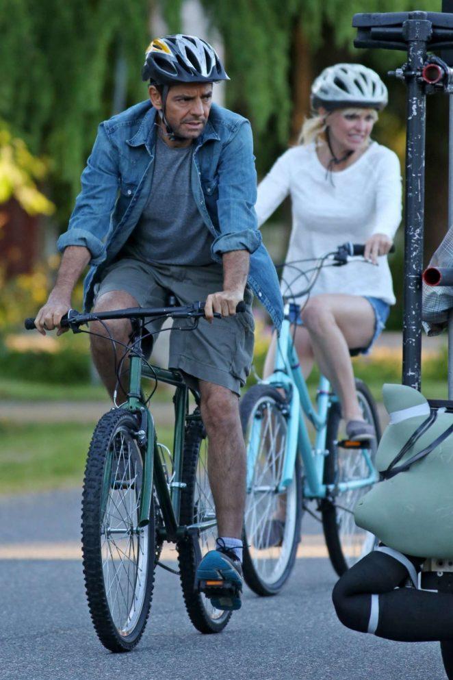 Anna Faris rides a bike for a scene in Overboard -32