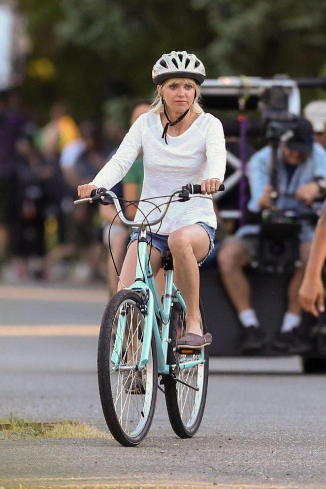 Anna Faris rides a bike for a scene in Overboard -44
