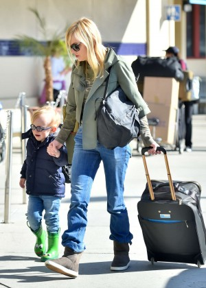 Anna Faris with her son at airport in Burbank