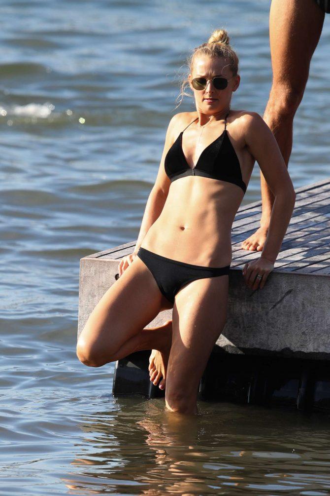 Anna Heinrich in Black Bikini at the beach in Sydney