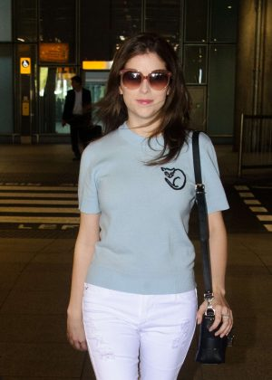 Anna Kendrick - Arriving at Heathrow Airport in London