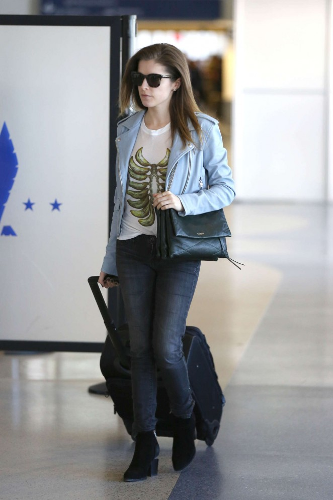 Anna Kendrick in Jeans at LAX Airport in LA