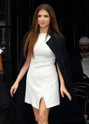 Anna Kendrick in White Mini Dress - Out in New York