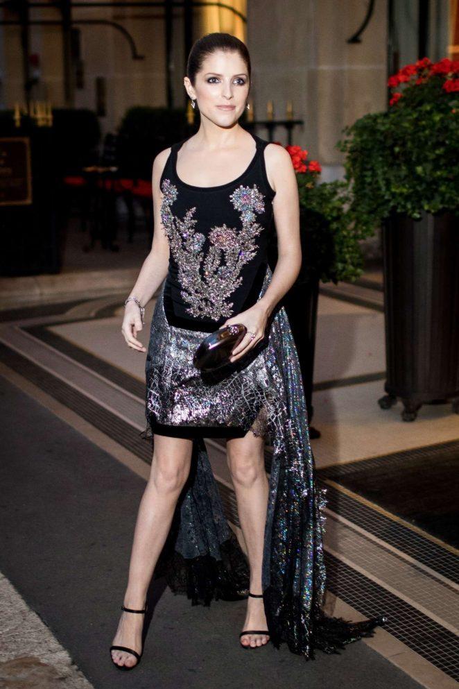 Anna Kendrick - Leaving hotel Plaza Athenee in Paris