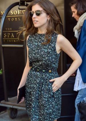 Anna Kendrick in Mini Dress Leaving the Trump Soho Hotel in NYC