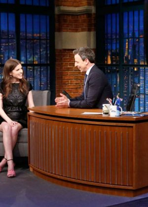 Anna Kendrick on 'Late Night with Seth Meyers' in New York ...