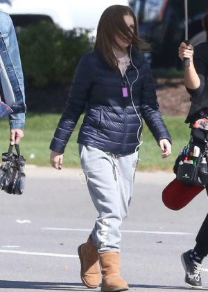 Anna Kendrick on set filming her new movie 'A Simple Favor' in Ontario