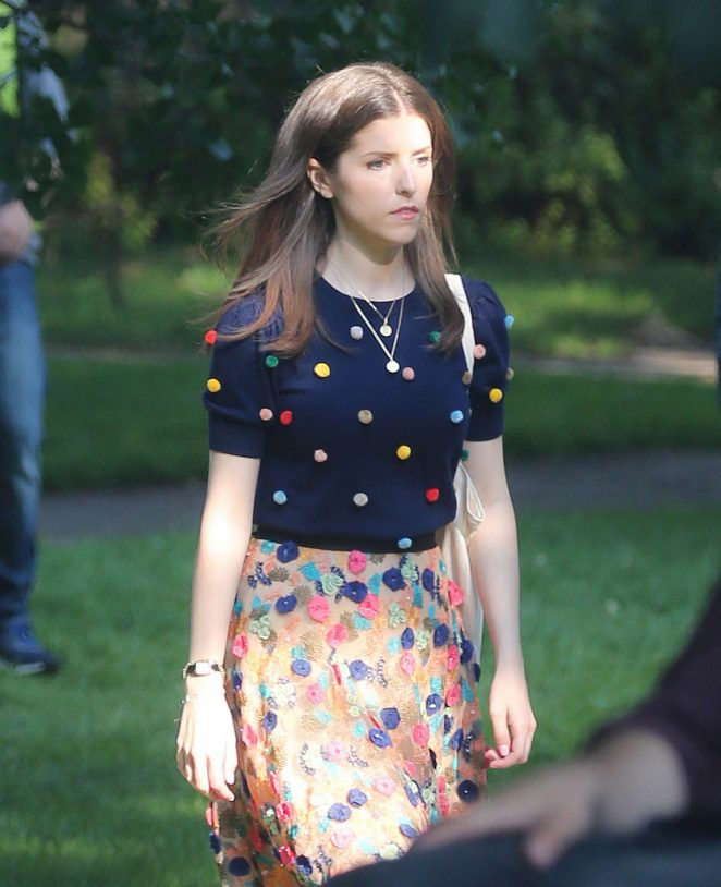 Anna Kendrick - On set of 'A Simple Favor' in Toronto