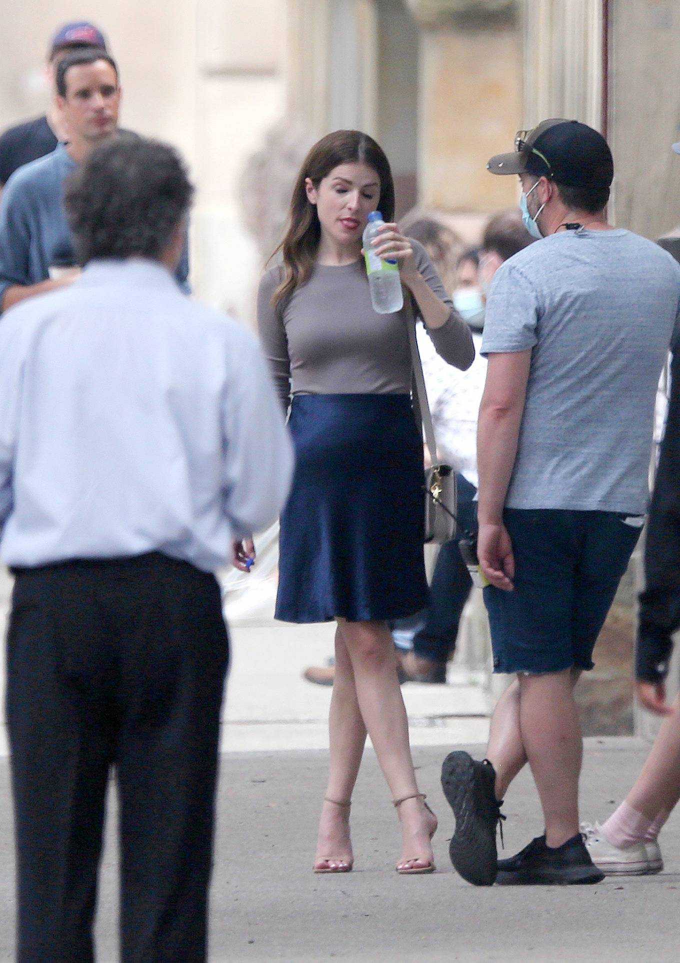 Anna Kendrick - With Charlie Carrick on Set Filming 'Alice, Darling' in Toronto