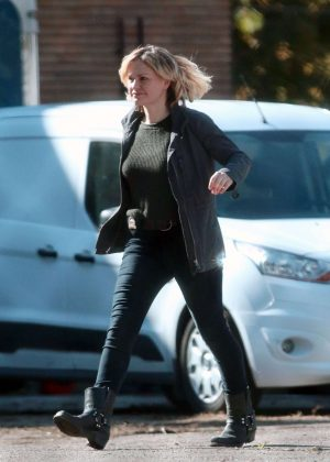 Anna Paquin on set of her new TV show 'Bellevue' in Montreal