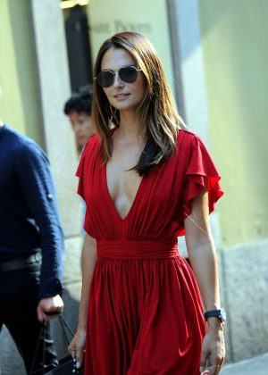 Anna Safroncik in Red Dress - Out in Milan