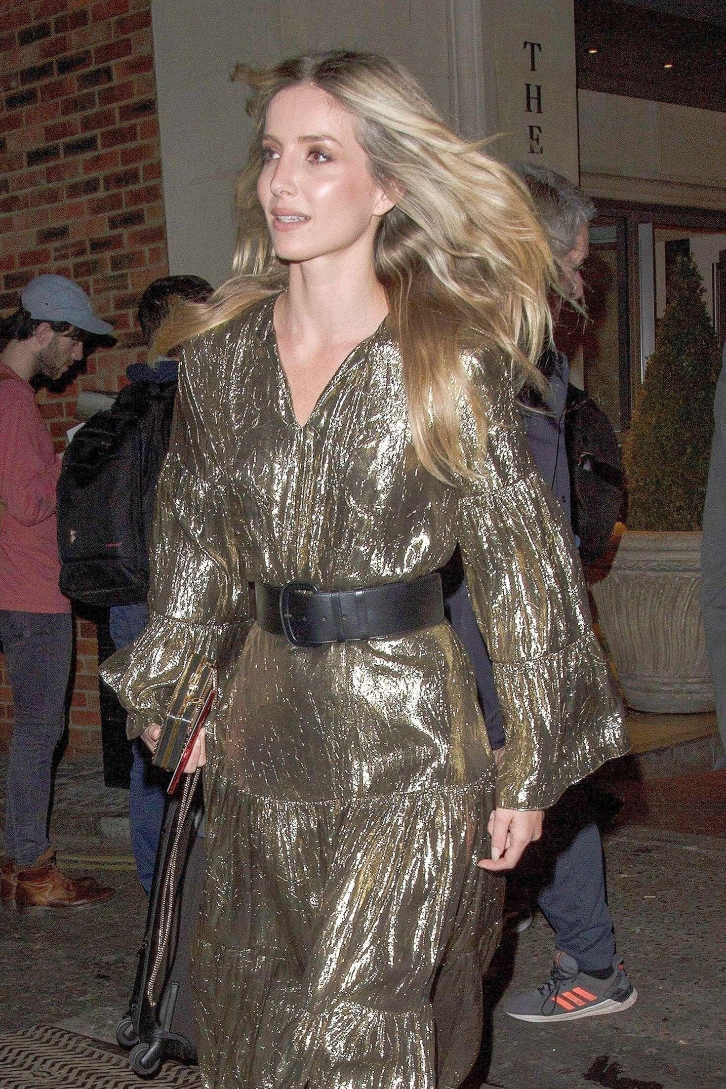 Annabelle Wallis in Golden Dress - Leaving hotel in Soho