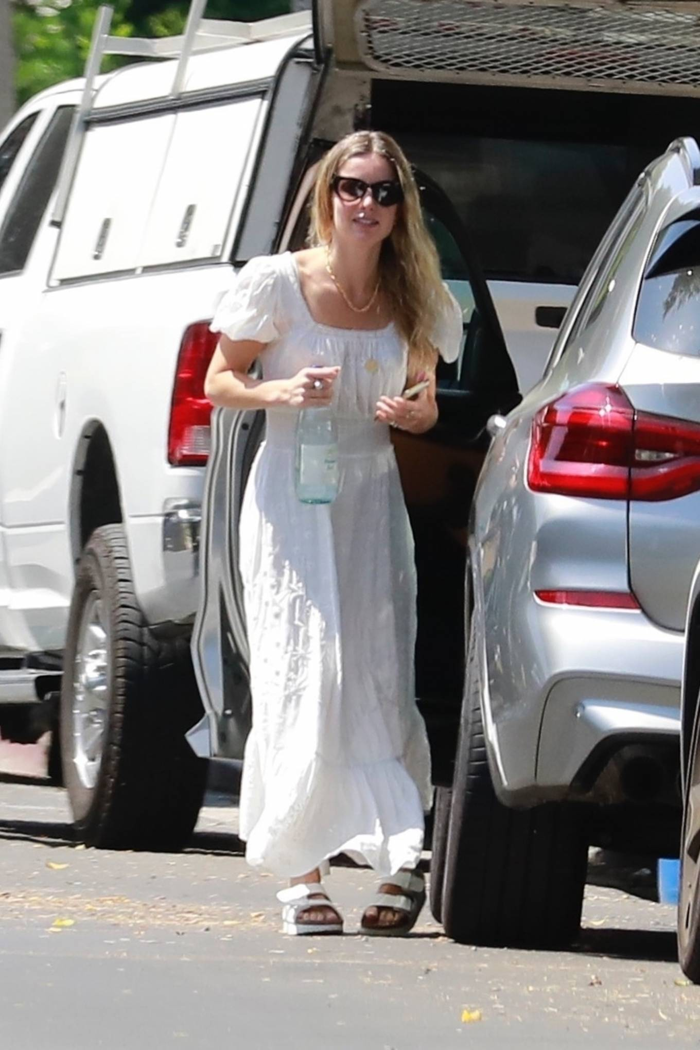 Annabelle Wallis in White Summer Dress - Out in Los Angeles