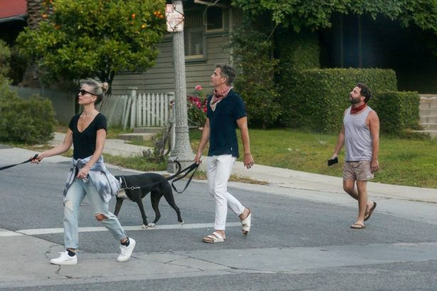Annabelle Wallis - Walking her dogs with a friend in Los Angeles