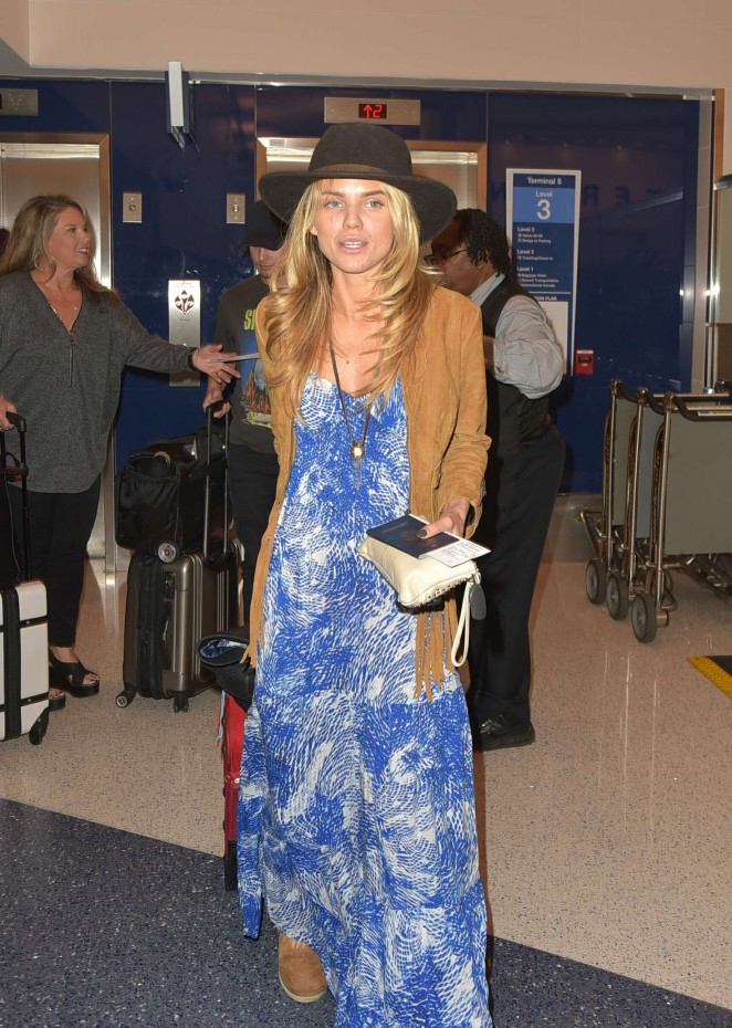 AnnaLynne McCord in Blue Dress at LAX Airport in Los Angeles