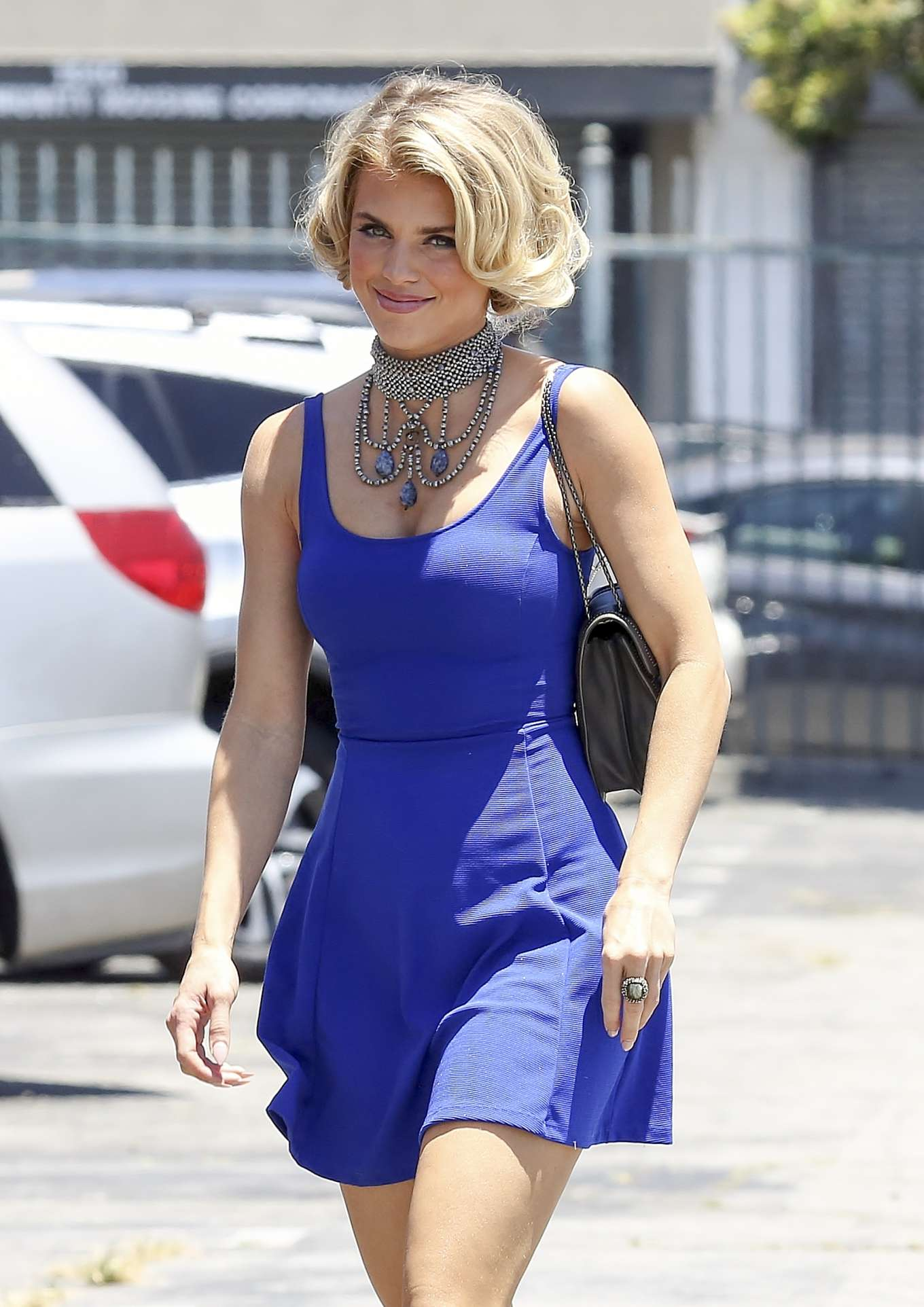 AnnaLynne McCord in Blue Mini Dress - Ariving to perform in the play 'Interlude' in Los Angeles