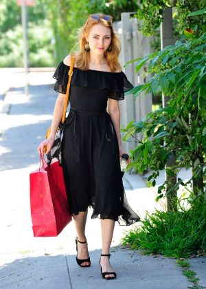 AnnaSophia Robb in Black Dress Out Shopping in Los Angeles
