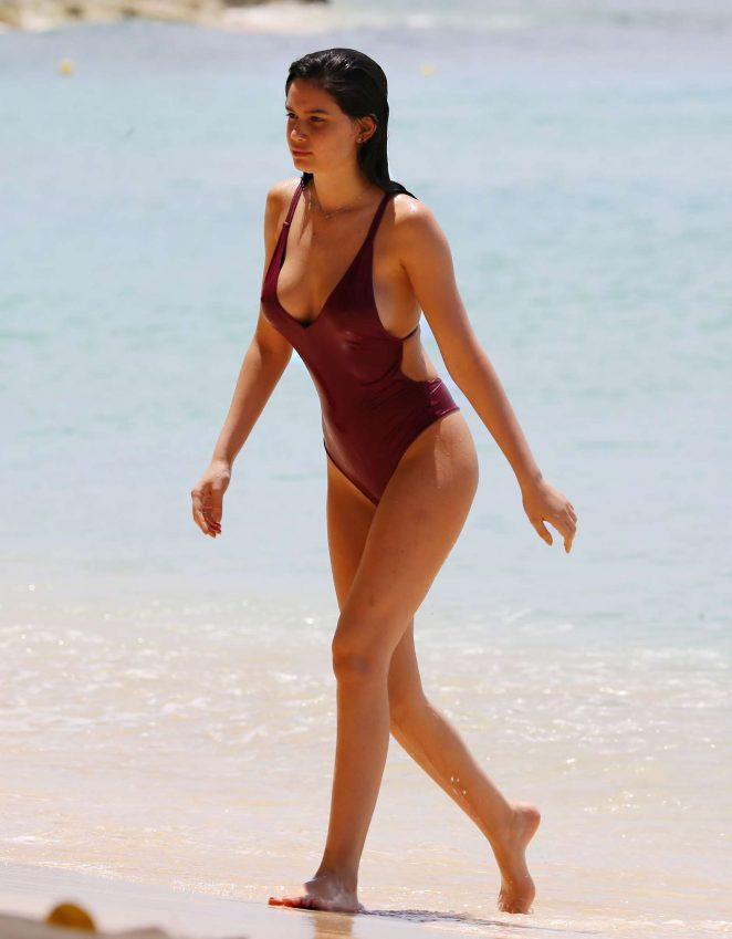 Anne De Paula in Swimsuit at the beach in the Caribbean