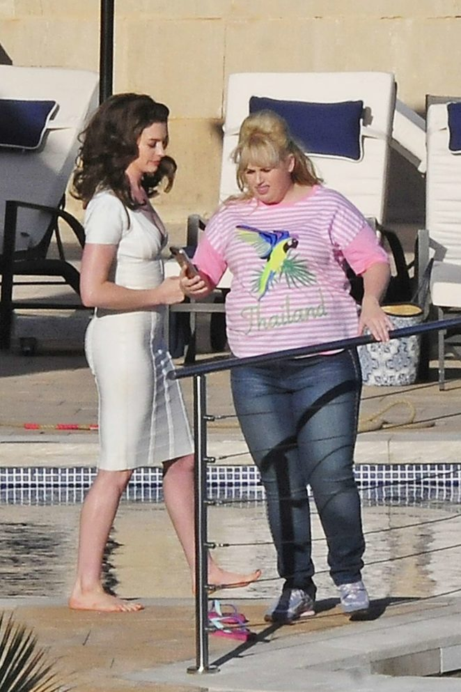 Anne Hathaway and Rebel Wilson - Filming 'Nasty Women' in Mallorca