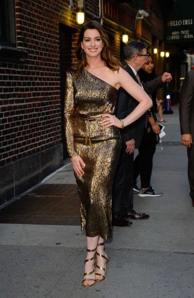 Anne Hathaway - Arrives at 'The Late Show with Stephen Colbert' in New York