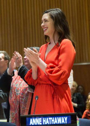 Anne Hathaway at International Women's Day in New York