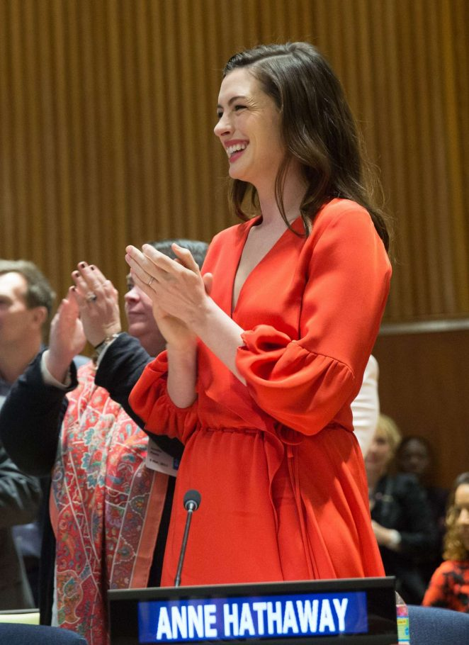 Anne Hathaway at International Women's Day in New York
