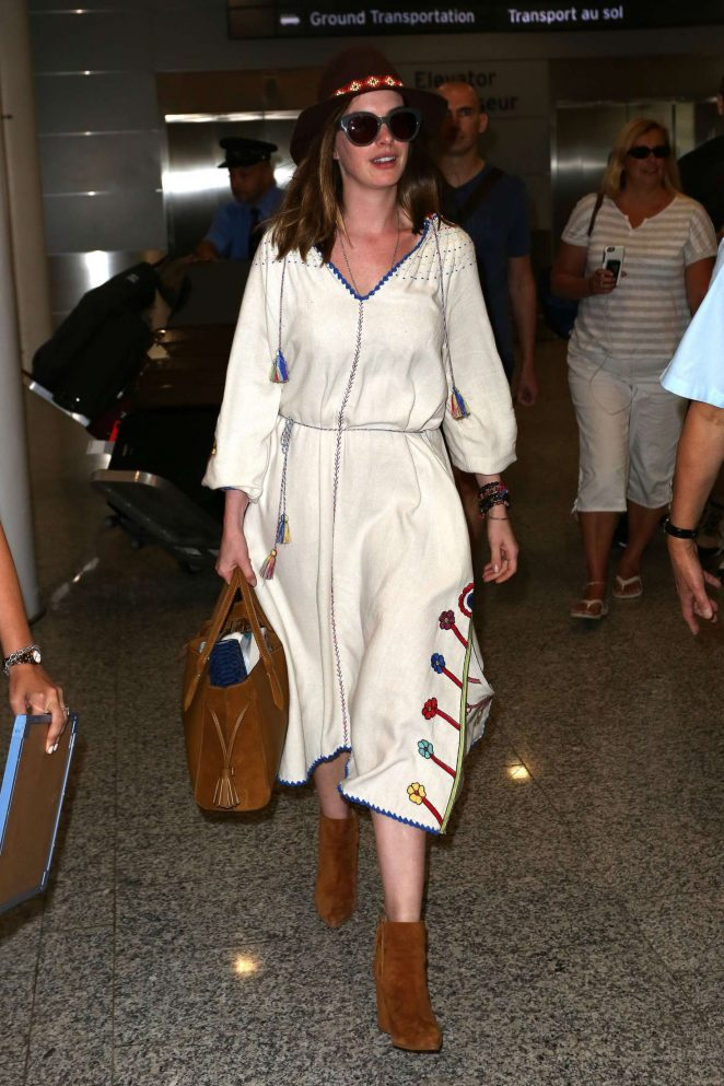 Anne Hathaway at Toronto International Airport in Canada