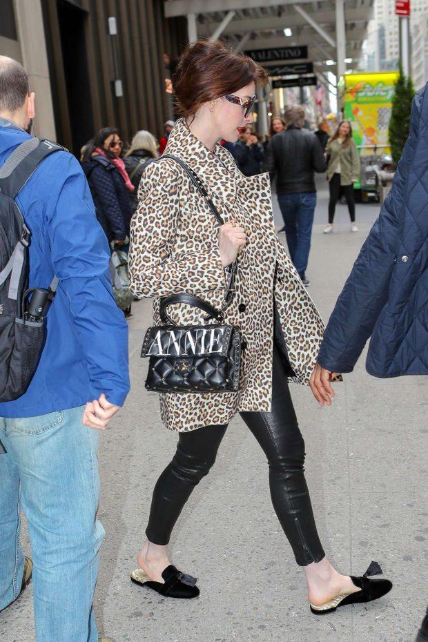 Anne Hathaway in Animal Print Coat -07