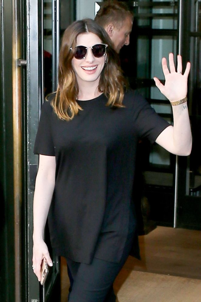 Anne Hathaway in Black - Out in New York City
