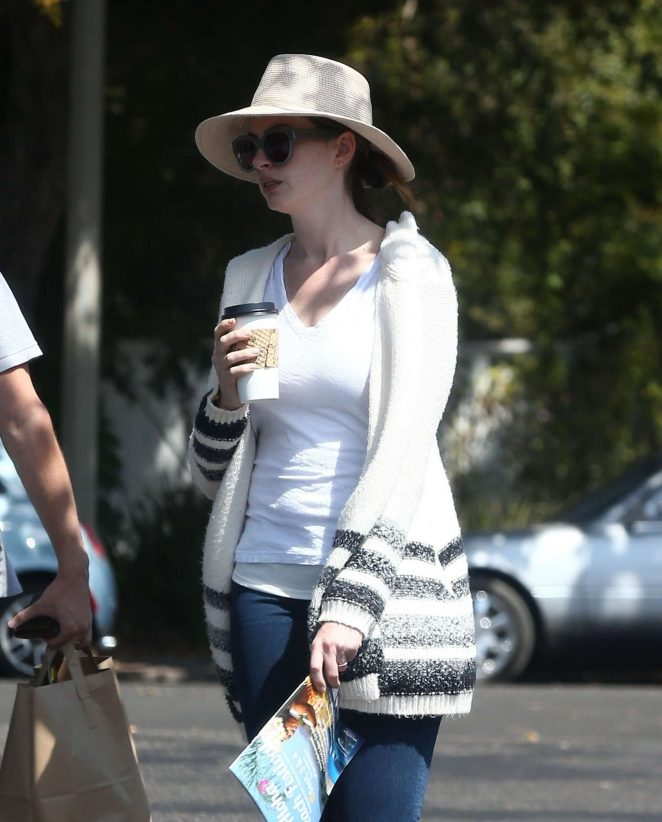 Anne Hathaway in Jeans and Hat out in Los Angeles