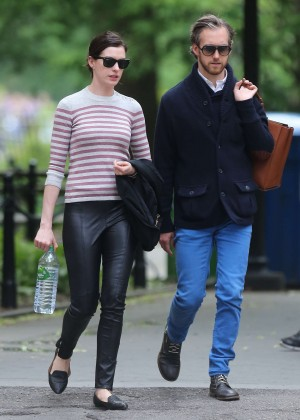 Anne Hathaway in Leather out in New York