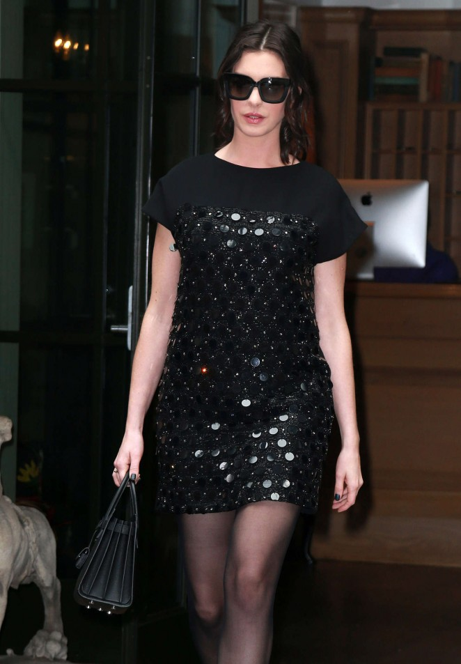 Anne Hathaway in Short Dress Leaves her hotel in NYC