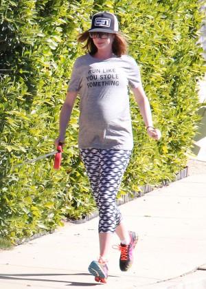 Anne Hathaway in Tight Leggings out in LA