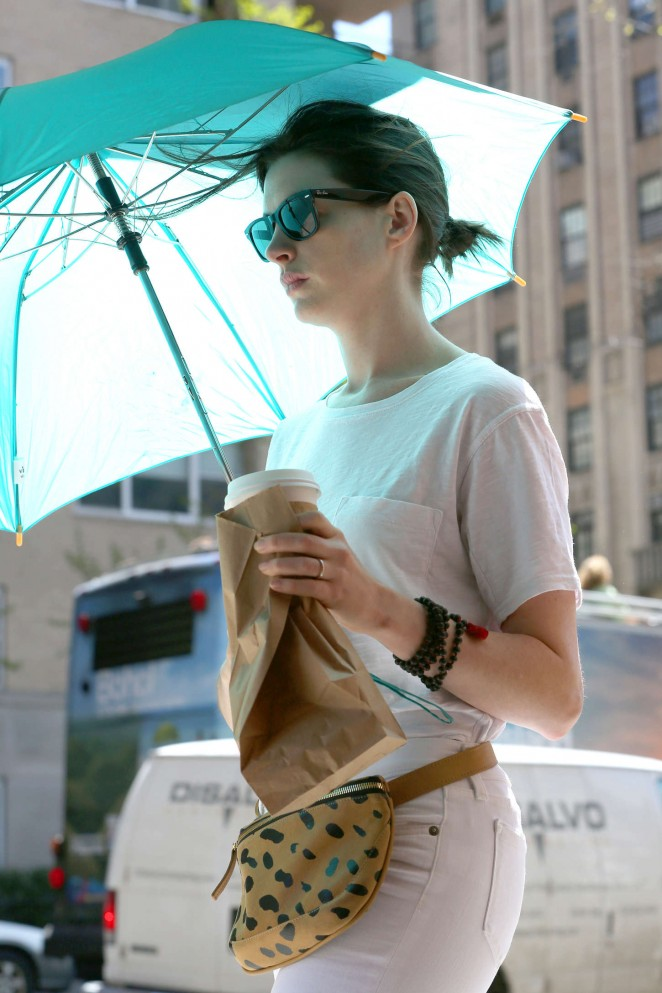 Anne Hathaway - In White Pants Out in NYC