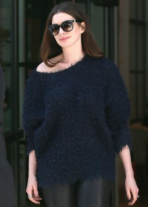 Anne Hathaway - Leaving a promotional meeting in New York City