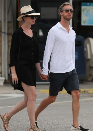 Anne Hathaway in Black Mini Dress out in Ibiza