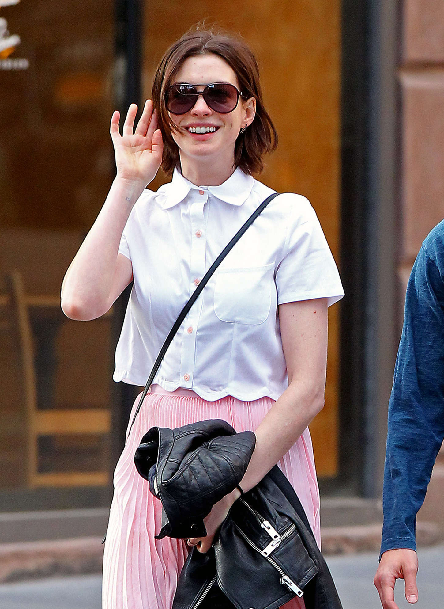 Anne Hathaway in Pink Skirt Out in NYC